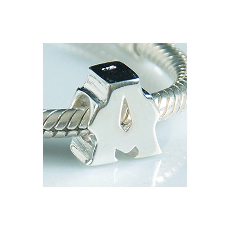 Alphabet Charms Letter Initial A-Z Genuine 925 Sterling Silver Beads fits Pandora Charms Bracelet (Letter A)