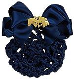 Haarnetz mit Satin Schleife und Brosche mit Perle (blau - gold)