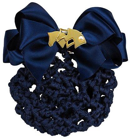 """Haarnetz mit Brosche """"Pferdeköpfe"""", blau-gold"""
