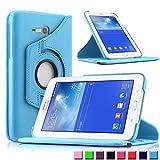Infiland Samsung Galaxy Tab 3 7.0 Lite Funda Case-PU Cuero 360°Rotación Smart Cover Cascara con Soporte para Samsung Galaxy Tab 3 7.0 Lite T110 T111 (7 Pulgadas) Tablet(Azul Claro)
