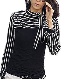 Bohai Bluse Damenbluse T-shirt Damenshirt Damen Shirt Hemd Stehkragen Streifen TOP