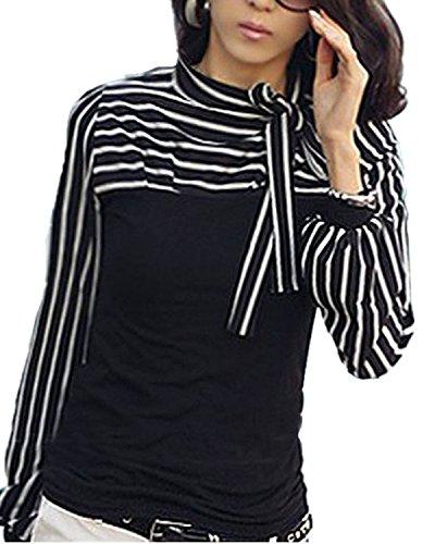 Minetom T-Shirt Camicia A Righe Maniche Lunghe