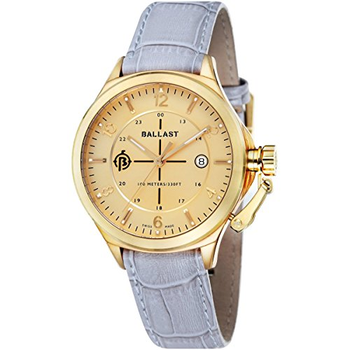 Ballast TRAFALGAR Men's Grey Genuine Leather Strap Watch - BL-3125-05