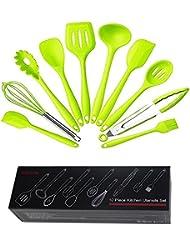 Cabell Set de 10 piezas Cocina de silicona Utensilios de cocina con herramienta de horneado higiénico, resistente al calor (negro y rojo) Kabeier (verde)
