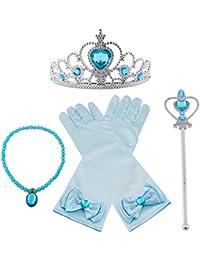 Vicloon Nuovi Costumi da Principessa set di 4 pezzi Dono da Tiara,Guanti,Bacchetta Magica,Collana da 3 a 9 Anni (Blu)