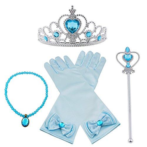 Vicloon nuovi costumi da principessa set di 4 pezzi dono da tiara, guanti, bacchetta magica, collana da 3 a 9 anni (blu)