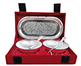 Set of Bowl's With Spoon's And Tray Silver Plated Gift For Diwali, Corporate Gift and Wedding Return Gifts.