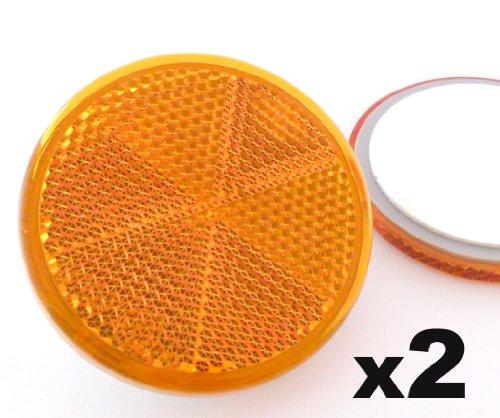 2x Orange Reflektoren 60mm - Rückstrahler Katzenaugen Rückleuchten Selbstklebend -Wohnwagen und Anhänger - Kostenloser Versand!