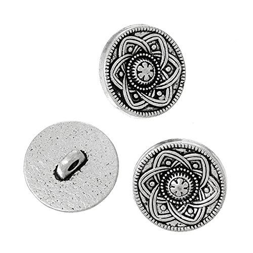 Shank Single (The Bead und Button Box-10Metal Shank Button rund antik silber Single Loch Blume Muster 15mm Dia. Ideal für Nähen, stricken, Button Art, Verzierung und andere Handarbeiten)