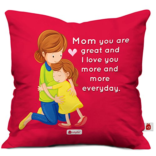 Indigifts Mom You Are Great Micro Satin Cushion Cover with Filler (Pink, 12x12-inches)