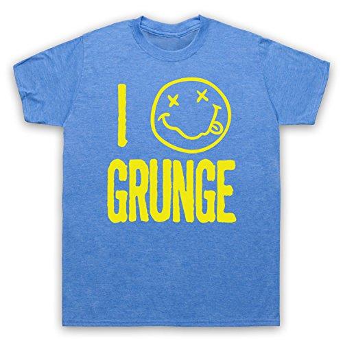 I Love Grunge Slogan Style Herren T-Shirt Jahrgang Blau