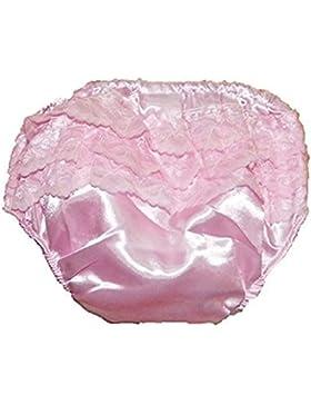 Baby Mädchen Satin Gefühl Rüschen Hose Höschen pink creme weiß verfügbar 0-6m Monate 6-12M Mon