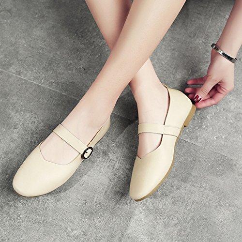 Hwf Chaussures Pour Femmes Printemps Rétro Plat Chaussures Pour Femmes Bouche Peu Profonde Chaussures Simples Grand-mères Chaussures Pour Femmes (couleur: Gris, Taille: 35) Beige Blanc
