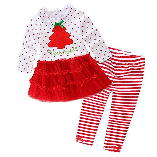 HBER 1-5 Jahre Baby Kleine Mädchen Weihnachten Langarm Rüschen Kleider + Gestreifte Leggings Hosen Kleidungssets (Adorable Rüschen Top)