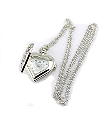 Hollow Heart-Shaped Pocket Watch Necklace Pendant Chain Silver
