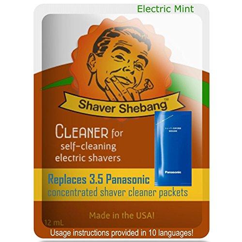 Concentrado equivalente a 3,5 Panasonic ES-4L03 y WES-4L03 - Menta eléctrica - 1 soluciones limpiadoras Shaver Shebang - sustituto para todas las afeitadores Panasonic que usen un concentrado