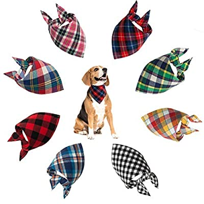 SCENEREAL Dog Bandana Classic Plaid Triangle Scarf 8pcs/pack Holiday Birthday Gift by SAILE