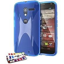 """Carcasa Flexible Ultra-Slim MOTOROLA MOTO X (1st GEN) [""""Le X"""" Premium] [Azul] de MUZZANO + ESTILETE y PAÑO MUZZANO REGALADOS - La Protección Antigolpes ULTIMA, ELEGANTE Y DURADERA para su MOTOROLA MOTO X (1st GEN)"""