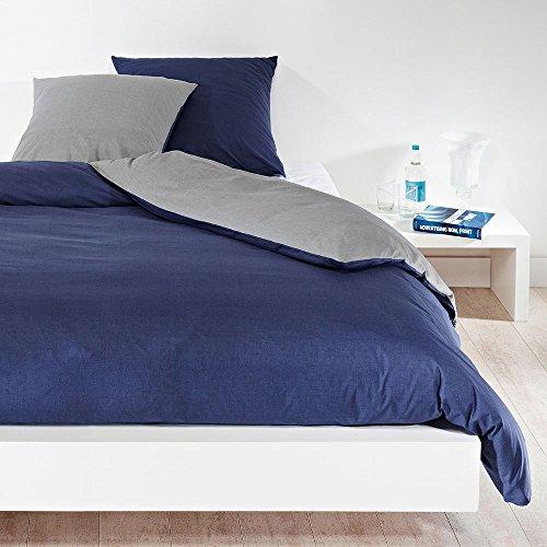 Bettwaren-Shop Wendebettwäsche hellgrau dunkelblau Bettbezug einzeln 240×220 cm