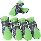 Semoss 4 Set Hunde Zubehör Atmungsaktiv Haustier Schuhe Hunde Schuhe Pfotenschutz Boots Hunde Stiefel Anti Rutsch,Grün,Größe:L,5.3 x 4.0 cm (L x B)