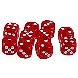 MagiDeal 10 Stück D6 Würfel Punkt Dice Spielwürfel für Party Familie Spielzeug / Verschiedene Farbe und Stil zu Wahlen / Geschenk - Rot