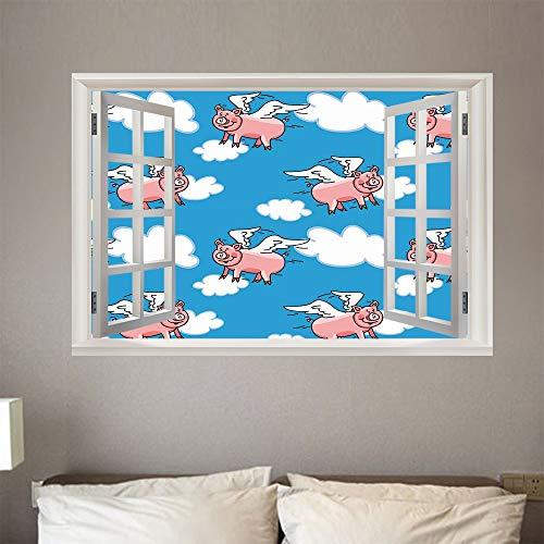 Nueva moda 3D decoración del hogar fondo de cerdo volador pegatinas de pared desmontables autoadhesivas DIY ventanas falsas a prueba de agua 50 cm × 70 cm
