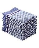 myHomery Grubentuch - Küchentücher 100% Baumwolle - Geschirrhandtücher - Trockentuch - Geschirrtücher für Küche & Gastronomie - Geschirrtuch blau weiß kariert Blau | 10er Set 45x90 cm/Basic