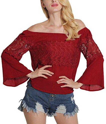 Sawadikaa Damen Sommer One-Shoulder Spitze T-Shirts Lässige Bluse Tops Blusen Langarmshirts Rot