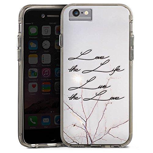 Apple iPhone 7 Plus Bumper Hülle Bumper Case Glitzer Hülle Live The Love Phrases Sprüche Bumper Case transparent grau