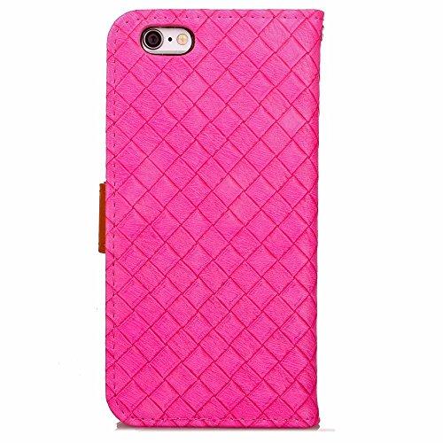 iPhone Case Cover Rasterfeld-spinnender Muster-Kasten PU-lederner Fall mit Karten-Schlitz-Foto-Rahmen-Schlag-Standplatz-Fall-Abdeckung für IPhone 6S ( Color : Brown , Size : IPhone 6 ) Rose