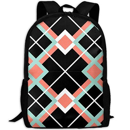 best& Vintage Coral Mint Plaid College Laptop Backpack Student School Bookbag Rucksack Travel Daypack -