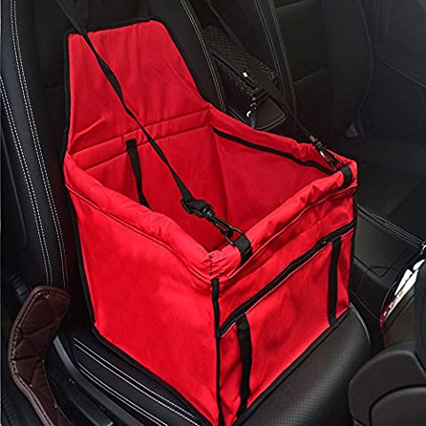 Efanr Waterproof Pet Single Car Seat Cover Portable Safety Seat Carrier Bag with Storage Pocket Safe Buckle Belts Dog Cat Car Protector Cover Mat Cushion Carpet