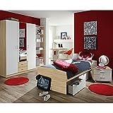 Kinderzimmer Acun 4-tlg weiß grau sonoma eiche Jugendzimmer Kleiderschrank Regal Bett inkl 3 Schubkästen Schreibtisch TÜV-geprüft