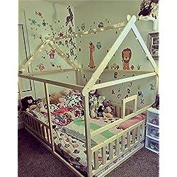 Lit d'enfant en bas âge avec lattes, lit Montessori,le lit est fait pour la taille de matelas 140x70 cm. Autres tailles que vous pouvez sélectionner dans les options.