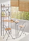 Kesper Küchentisch mit Regal und 2 Stühlen, klappbar, Holz