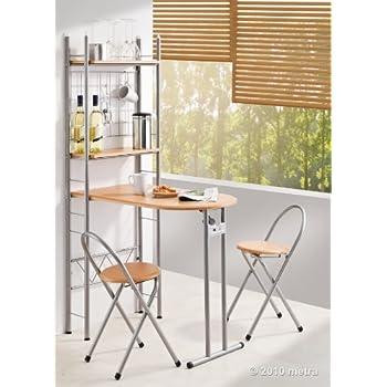 Küchentisch mit Regal und 2 Stühlen, klappbar, Holz: Amazon.de ...