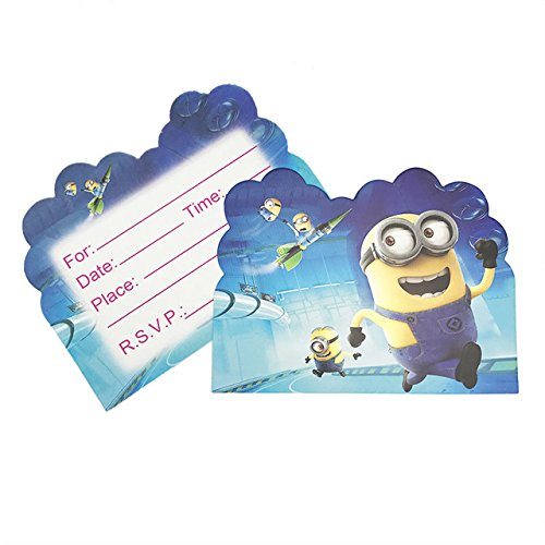 Party Favour Children's Birthday Party Minion Theme Invitations Cards with Envelopes - Kids Birthday Party Invitations for Boys Or Girls,- Invitation Cards(Pack of 10)
