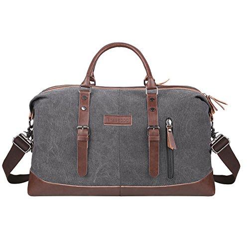 PRASACCO Weekender Reisetasche Multifunktion Umhängetasche Handgepäck Schultertasche für Wochenende aus PU Leder Retro Canvas Sporttasche Travel Duffel Bag Canvas Bag Unisex Holdall