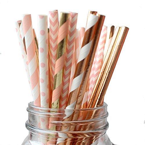 Ipalmay Trinkhalme, biologisch abbaubar, aus Papier, verschiedene Muster (gestreift und gepunktet), Länge: je 19,7cm, Violett / goldfarben, 150Stück Rose Gold & Pink