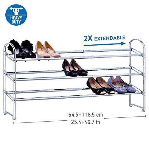 Tatkraft Maestro   Schwerlast Schuhregal Ausziehbar   3 Etagen aus Stahl   Schneller Aufbau   Länge 64,5 bis 118 cm   robust und stilvoll