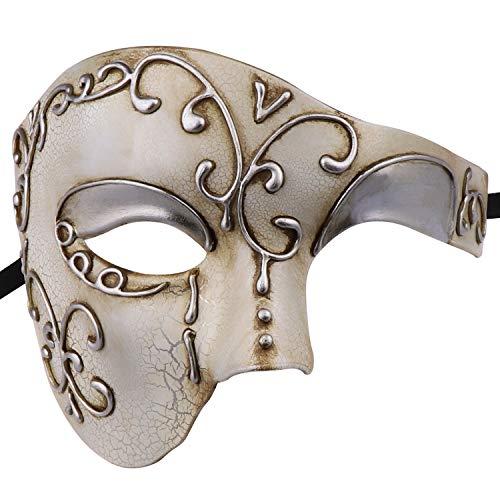 Maschera mascherata di maschere di carnevale veneziano di Mezza faccia vintage Design Maschera (Beige)