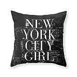 xiangwangdeli New York City Girl Black & White Skyline Vogue Typography Throw Pillow Indoor Cover (18' x 18')