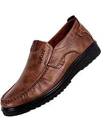 JiaMeng Zapatos de Cuero Casual de los Hombres Zapatos Planos con Cordones Hombre La última Moda de Negocios Transpirable Suave Inferior Zapatos Casuales