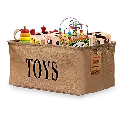 Gimars Jute Storage Basket Bin Chest Organizer - Perfect for Organizing Toy Storage, Baby Toys, Kids Toys, Dog Toys, Baby Clothing, Children Books, Gift Baskets
