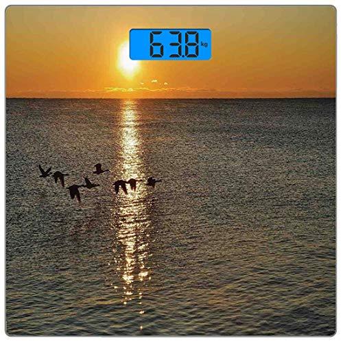 Präzisions-Digital-Körpergewichtswaage Birds Ultra Slim Gehärtetes Glas Personenwaage Genaue Gewichtsmessungen, Silhouetten von Kanadischen Gänsen, die über einen See bei Sonnenaufgang fliegen Romanti (Platte Kanadische)
