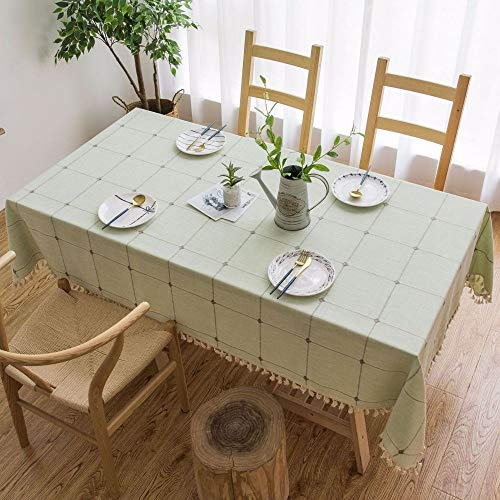 PCYG Tischdecke Tischdecke Bestickte Tischdecke Aus Baumwollleinen Verdickte Tischdecke Mit Verbrühschutz, 140X140Cm, Grün