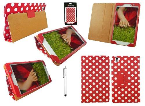 Emartbuy® Samsung Galaxy Tab Pro 8.4 Zoll Tablet (T320 T321 T325) Weiß Eingabestift + Polka Dots Rot/Weiß Wallet Etui Hülle Case Cover mit Ständer