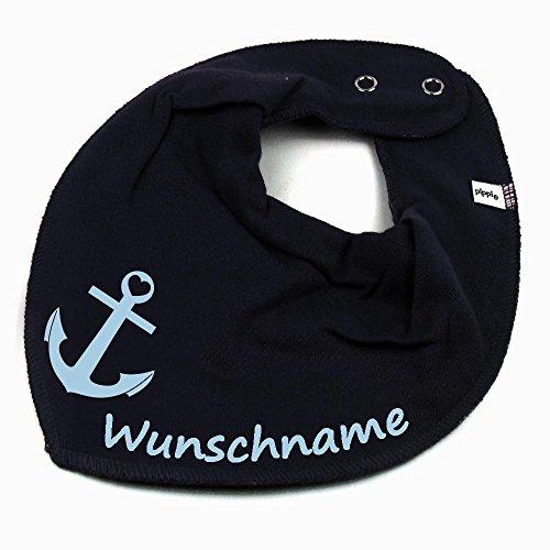 HALSTUCH ANKER mit Namen oder Text personalisiert dunkelblau für Baby oder Kind (Personalisierte Kleidung Kinder Für)
