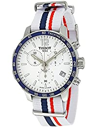 Tissot Quickster Cronógrafo de la OTAN t095.417.17.037.09blanco/blanco con azul y rojo rayas nailon