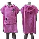 Lightahead® - Poncho in cotone con cappuccio per cambiarsi dal surf, spiaggia o accappatoio, Pink, Bambino